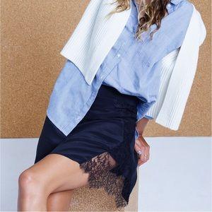 Madewell Lowlight Silk Lace-insert Skirt